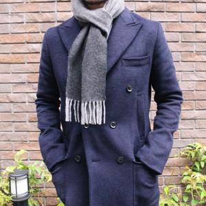 暖かくて上品なピュアカシミア・ダブルフェイスマフラー #2ブラック