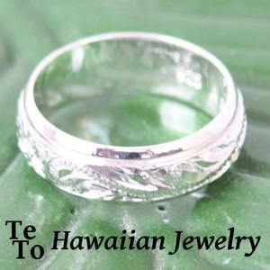 【HawaiianJewelry / ハワイアンジュエリー】 スピンリング プルメリア&リーフ プレートシルバーリング