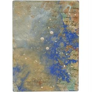 「無題」 古い葉書にアクリル * 現代アート 絵画 抽象画 アンティーク 内野隆文 takafumiuchino