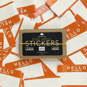 EGGSHELL STICKERS HELLO MY NAME IS ORANGE BLANKS - 50pcs