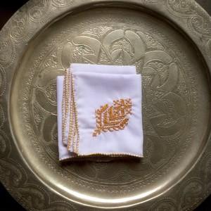 モロッコ ファズ刺繍 ハンカチ -黄土色-