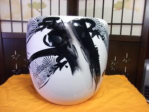 <00333>◆火鉢 手あぶり 時代物 陶器 中古品 高さ26cm 幅26cm