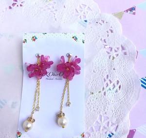 2wayで使えるお花のイヤリング(カルメン)ピンク