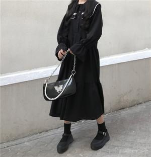 【ワンピース】ファッションスウィートスピーカースリーブストラップワンピース