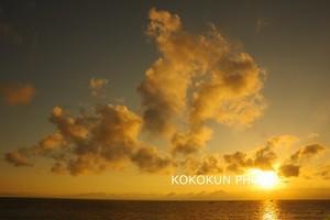 有明海の朝の風景「朝日に染まる雲」