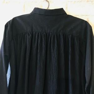 3111dcc0cd8e7 キッズ 遠州織物ネップミックス×ワッシャー コンビシャツワンピース Black