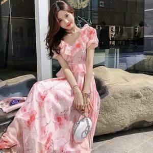花柄シフォンフリルロングワンピース ピンク