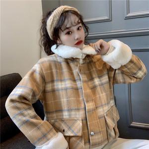 【アウター】ファッションカジュアルチェック柄折り襟コート