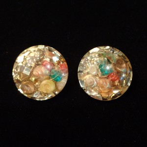 Vintage confetti lucite shell earrings コンフェティ ルーサイト シェルイヤリング
