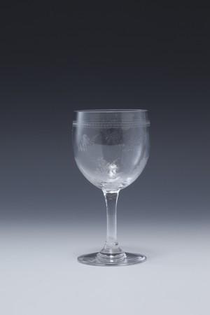 ⑱バカラ エッチドローズ文 シェリーグラス Etched rose pattern Sherry Glass