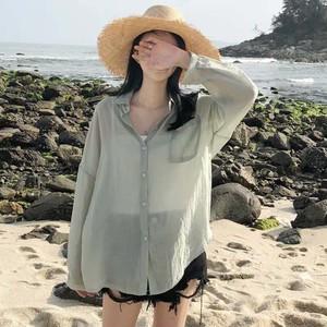 【トップス】無地シンプル気質シフォン薄手日焼け止め長袖シャツ22536083