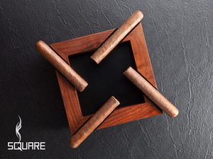 "Rotational Walnut Cigar Ashtray ""SQUARE"" / 回転式ウォルナット製シガートレイ「スクエア」(葉巻用灰皿)"