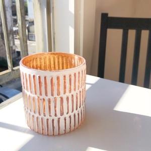 """Shilpa""ホワイト/copper   植木鉢カバー"