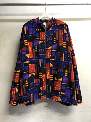 """Ethnic pattern"" Polyester stand color jacket"