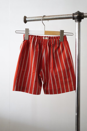 jonnlynx for tiny people / cotton linen dobby short pants (red)