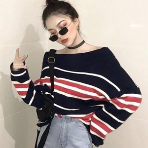 【トップス】お洒落感アップストライプ柄ボートネックセーター