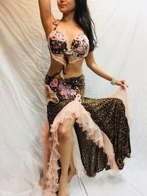 エジプト製 ベリーダンス 衣装 豹柄ピンク