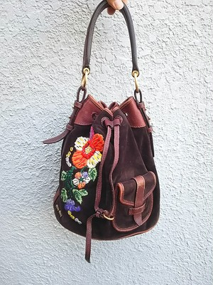 【イタリア製】ミュウミュウmiumiu/miu miu/刺繍/ヌバック×レザー/巾着/ハンドバッグ/