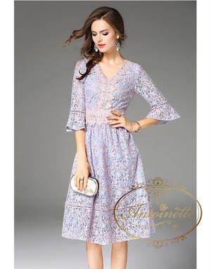 ladies fashion spring dress オーガンジー レディース 可愛い パープル 花柄レース ワンピース