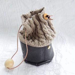 Muffin / knit mini bag - twist / Nero