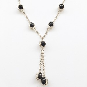 black & silver tassel necklace[n-134]