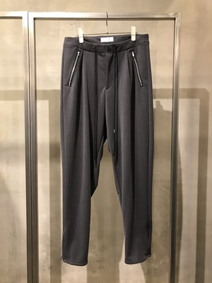 T/f stretch ponte fabric baggy tapered side zip pants - combined black
