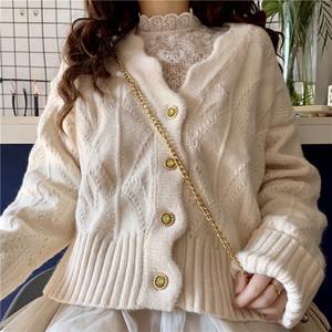 【トップス】スウィート淑やか無地Vネックニットセーター