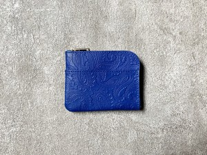 L-shaped Small Wallet: (Paisley embosses) Color : Blue