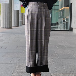 【CINOH】CHECK ROLL UP TUCKED PANTS