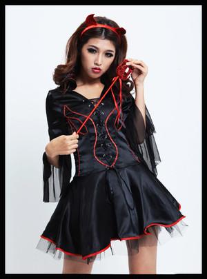 コスプレ 小悪魔 ヴァンパイアドレス ハロウィンコスプレ衣装 猫耳 魔女ドレスデビルロード ブラック イベント ワンピース セクシー かわいい