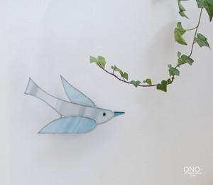 岩田けいこ*ステンドグラス ウォールアクセサリー 鳥(淡青)
