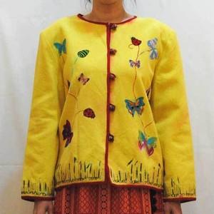 S~Lサイズ【アメリカ製古着】1960年代◆イエローに蝶々の豪華刺繍◆ジャケット
