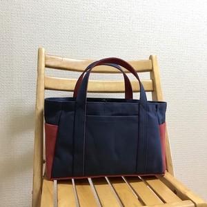 「ポケットトート」横長サイズ「ネイビー(紺)×キャニオンレッド」帆布トートバッグ 倉敷帆布8号