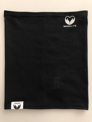 黒色デビュー!クールネックゲイター 飛沫拡散軽減マウスカバー(黒 x マーク(白))Mサイズ