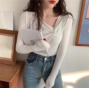 【トップス】秋冬ファッションVネック合わせやすいインナーTシャツ