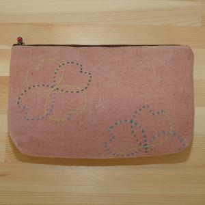 草木染めポーチ(インドあかね)花つなぎ刺し子柄