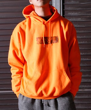 Needle Punch Box Logo PO Hoody -orange <LSD-BJ3T3>