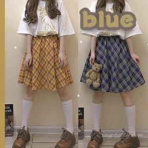 【ボトムス】シンプルレトロ夏チェック柄Aラインハイウエストスカート