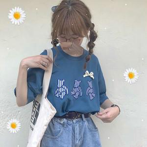 【トップス】コットン学園風レトロプリントTシャツ