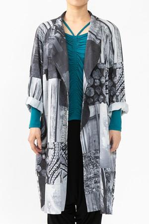 コーディネートの幅が広がるドライプリント/サラッと羽織れるベルト付シャツコート/ブラック