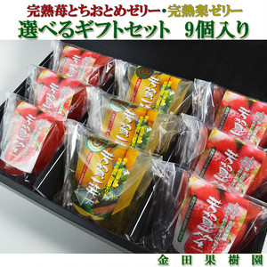 金田果樹園 完熟梨 とちおとめ 苺 ゼリー 選べる9個入り