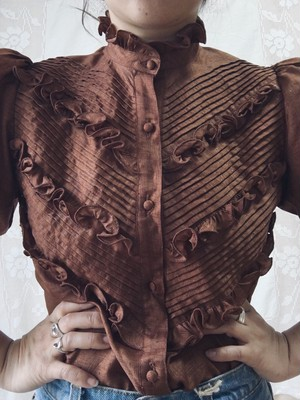 Brown Frill Blouse