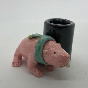 陶のスタンド「ハダカデバネズミ」