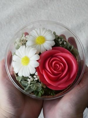 ソープカービングフラワー【赤いバラとマーガレット】 手のひらサイズの贈り物シリーズ