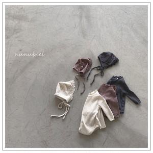 【予約販売】dot wrinkle baby suit【baby】with bonnet〈nunubiel〉