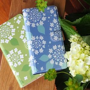 紫陽花の手帳型スマホケース