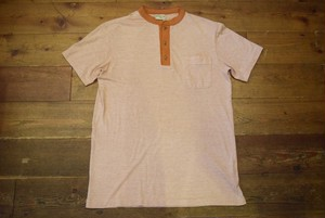 USED L.L.Bean ヘンリーネックポケットTシャツ ピンボーダー L