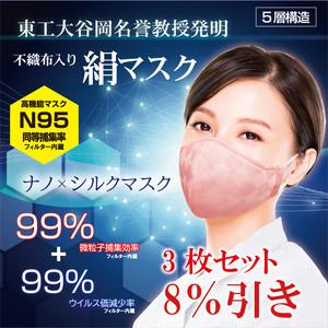 ☆8%OFF☆ 高機能マスク3枚SET 天然と科学の力『ナノ×シルクマスク』