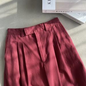 high waist tuck chino【burgundy】【unisex】
