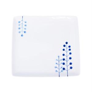 浜陶 波佐見焼 和山窯 flowers 角プレート 皿 ドットツリー 327001